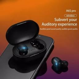 Fone de ouvido sem fio TWS A6S BT. 5.0, Preto