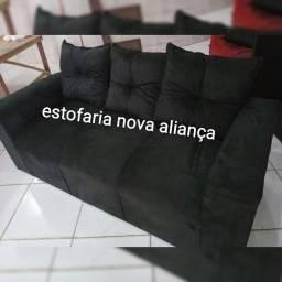Sofá de 3 lugares com almofadas com entrega grátis