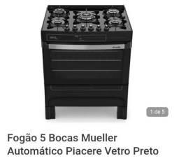 Título do anúncio: Vendo Fogão 5 Bocas Mueller Automático Piacere Vetro Preto<br><br><br>