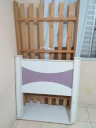 cama solteiro branco e lilás