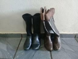 2 botas de couro