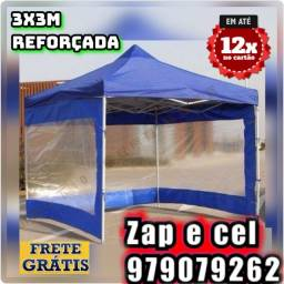 Tenda Sanfonada 3x3m reforçada com as  laterais