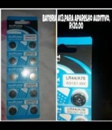 Bateria modelo A13(cartela c 10 unid.),p aparelho auditiva,lacrada,r$20,00/leia o anúncio