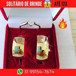 Alianças de Moeda +Solitário de Brinde