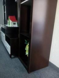 Rack com estante combo em madeira cor tabaco