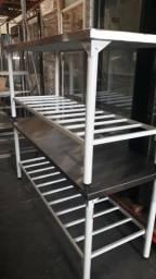 Mesas inox pés pintado 1.90x70 Alessandro *
