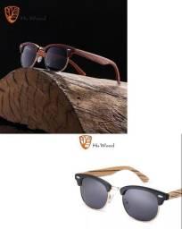 Hu Wood Clubmaster Original em madeira natural Unissex Polarizado