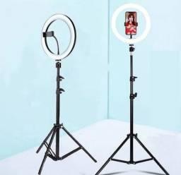 Ring light 10 polegadas 26 centímetros com suporte pra celular e tripé grande 2 metros