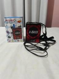 Caixa de som pequena com Bluetooth, entrada USB e MMC