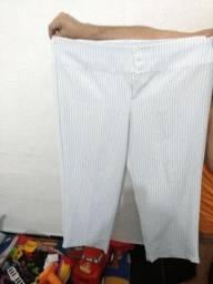 Duas calças de Oxford brancas Tam 52