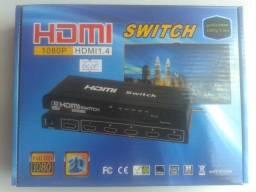 Switch HDMI 1.4 5x1 com fonte e controle remoto (NOVO)