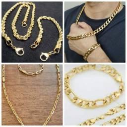 Kit corrente e pulseira masculina folheado a ouro