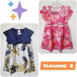 Kit 2 Vestidos Infantil Menina Brandili. Tamanho: 2