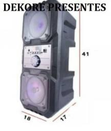 Caixa Som Amplificada Microfone Bluetooth Usb Radio Grande