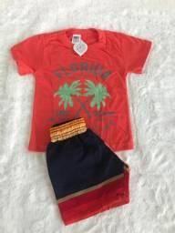 Conj. Infantil - Short Tactel e Camisa Algodão.