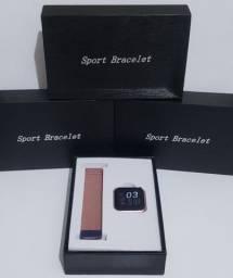 Smartwatch P80 Rose e preto + pulseira extra novp