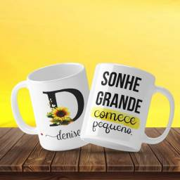 Caneca Personalizada Girassol Letra + Nome + Frase