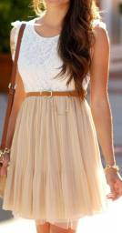 Vestido Renda Creme com Marrom Claro