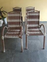 Jogo com 4 cadeiras de varanda