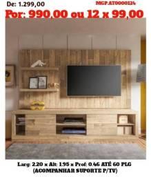 Super Promoção em MS- Rack com Painel de televisão ate 60 Plg-Estante de TV com Painel TV