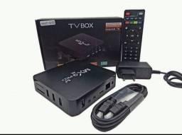 TV BOX com aplicativo e canais instalados...