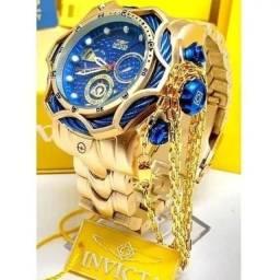 Kit relógio masculino invicta mais corrente Cartier oferta