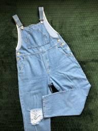 macacão jeans feminino baggy destroyed
