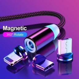 Cabo Carregador Magnético 3 Em 1 Type C, V8, IOS