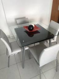 Mesa 4 cadeiras - Tampo de vidro 10 mm