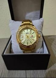 Relógio dourado aço inoxidável banho em ouro 18 k promoção 200 reais ZAP *06