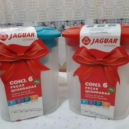 Título do anúncio: Conj 6 peças quadradas de plástico transparente jaguar utilidades