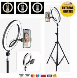 Ring Ligth Iluminador Anel Luz 26cm Mak Fotos Com Tripé 4x nos Cartões