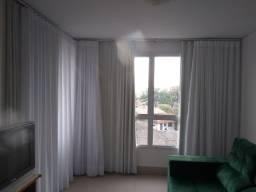 Troco  cortina branca com dois tecidos nova formato L