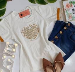 T-shirts algodão bordadas