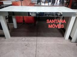 Mesa em madeira c/ pastilha vidro. 1,80 x 0,80 x 0,80