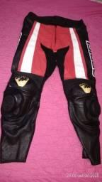 Calça de couro legítimo para motociclistas