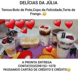 BOLO DE POTE, COPO DA FELICIDADE E TORTA DE FRANGO