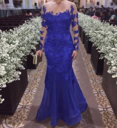 Vestido tule bordado azul Royal
