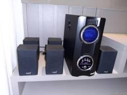 Home Theater com controle remoto seminovo para uso em TV e DVD funcionando perfeitamente
