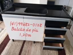 Pia e balcão de pia 1,20m com tampo de mármorite/NOVO