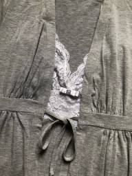 Camisola de amamentação + robe cinza mescla