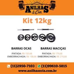 Kit Musculação 12Kg Anilhas