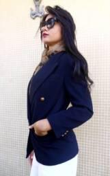 Blazer preto, feminino, de lã, americano, Chasecult (seminovo)