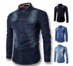 Camisa jeans Manga Longa Execultiva