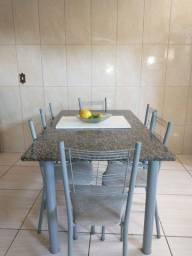 Mesa de granito de 6 cadeiras