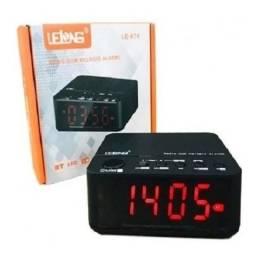Rádio Relógio Despertador Digital Fm Bluetooth Tf Lelong-674