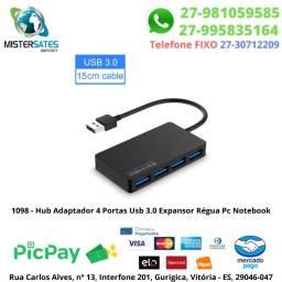 1098 - Hub Adaptador 4 Portas Usb 3.0 Expansor Régua Pc Notebook