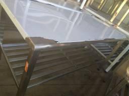 Mesa 1.90 x90 total inox com grade toda fixa 48 98465 1068