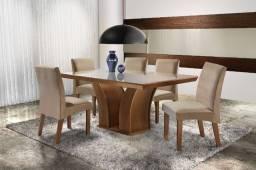 Mesa 6 cadeiras 100% MDF em 100% MDF Nova e embalada Mesa 6 cadeiras 100%