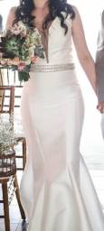 Vestido de noiva branco em zibeline - Tamanho 38
